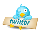 Twitter birdy with sign